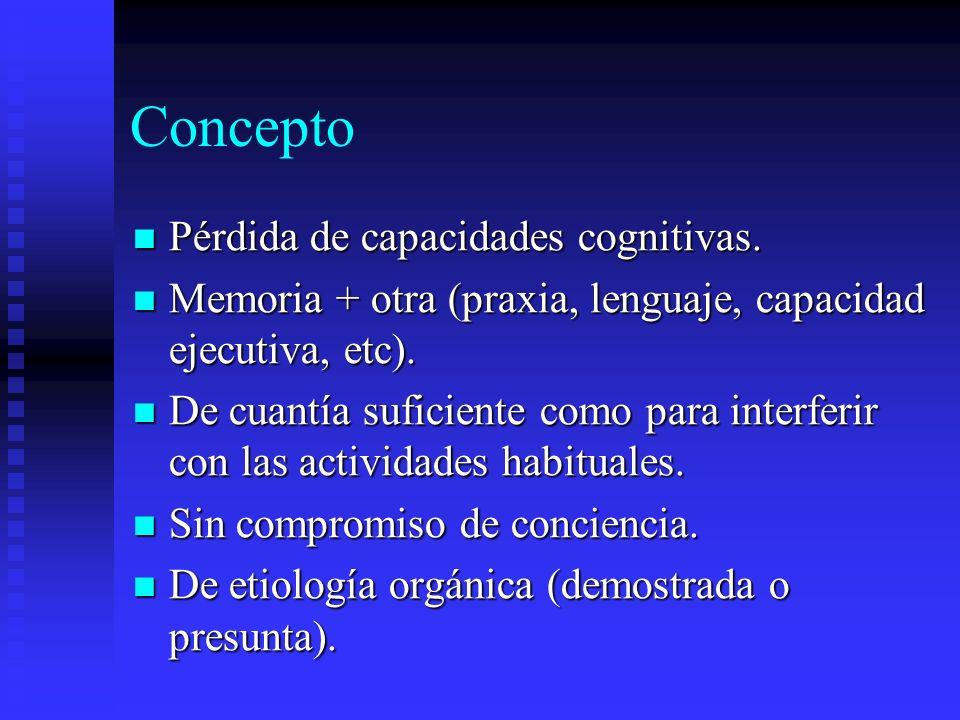 Concepto Pérdida de capacidades cognitivas. Pérdida de capacidades cognitivas. Memoria + otra (praxia, lenguaje, capacidad ejecutiva, etc). Memoria +