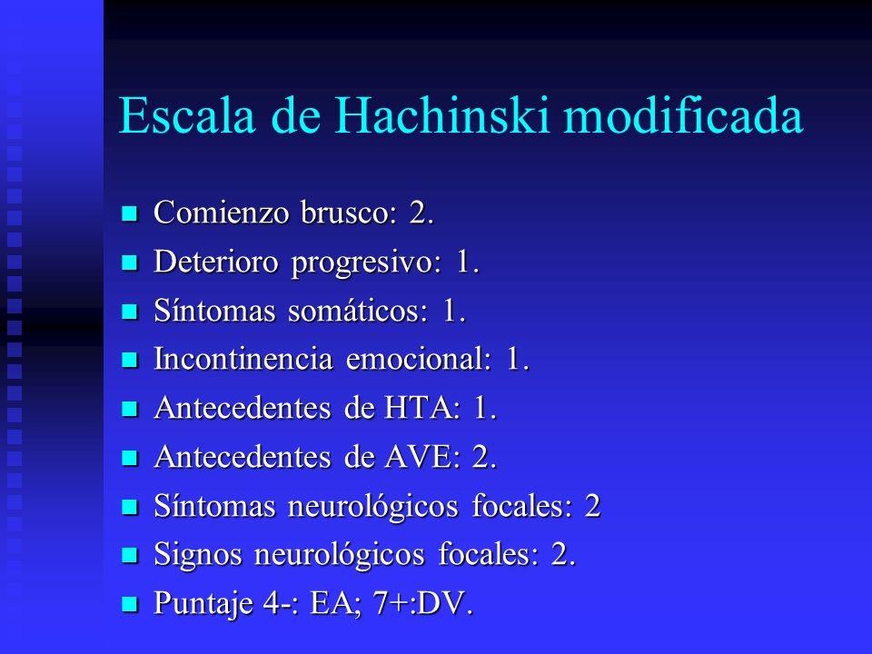 Escala de Hachinski modificada Comienzo brusco: 2. Comienzo brusco: 2. Deterioro progresivo: 1. Deterioro progresivo: 1. Síntomas somáticos: 1. Síntom