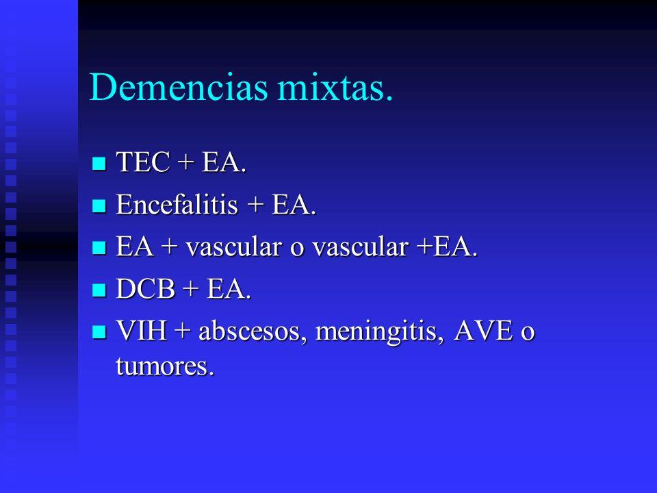 Demencias mixtas. TEC + EA. TEC + EA. Encefalitis + EA. Encefalitis + EA. EA + vascular o vascular +EA. EA + vascular o vascular +EA. DCB + EA. DCB +