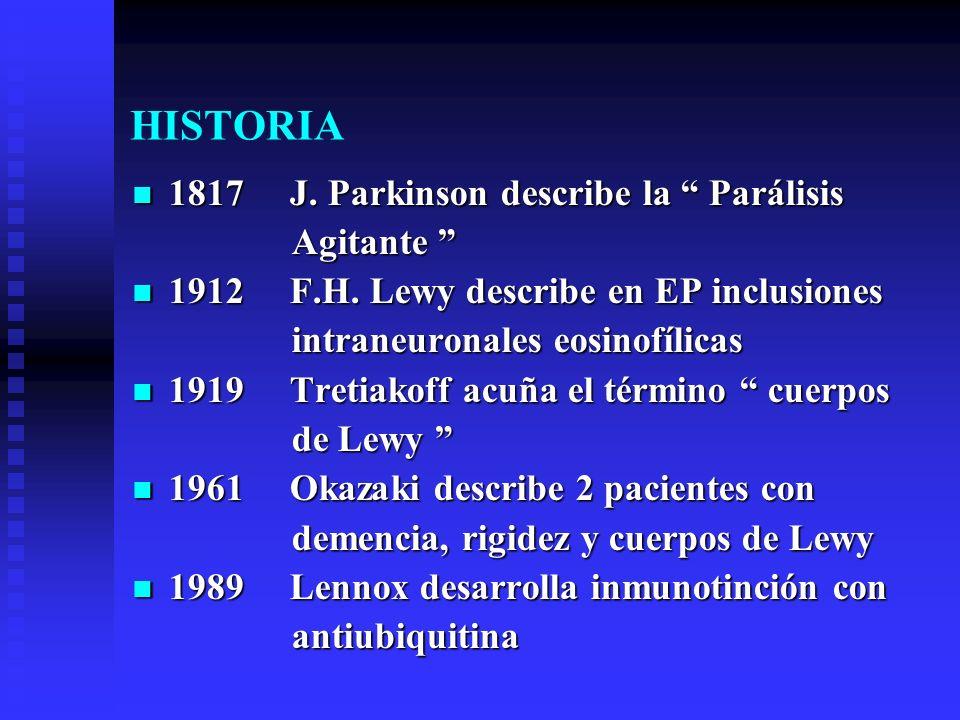 HISTORIA 1817 J. Parkinson describe la Parálisis 1817 J. Parkinson describe la Parálisis Agitante Agitante 1912 F.H. Lewy describe en EP inclusiones 1