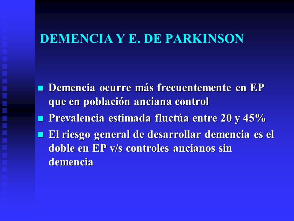 DEMENCIA Y E. DE PARKINSON Demencia ocurre más frecuentemente en EP que en población anciana control Demencia ocurre más frecuentemente en EP que en p