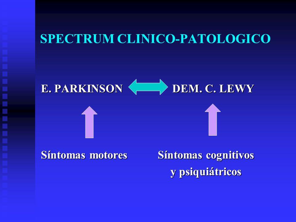 SPECTRUM CLINICO-PATOLOGICO E. PARKINSON DEM. C. LEWY Síntomas motores Síntomas cognitivos y psiquiátricos y psiquiátricos