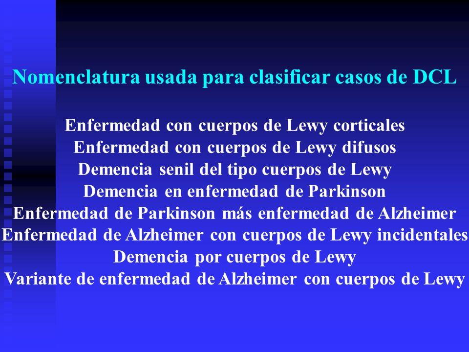 Nomenclatura usada para clasificar casos de DCL Enfermedad con cuerpos de Lewy corticales Enfermedad con cuerpos de Lewy difusos Demencia senil del ti