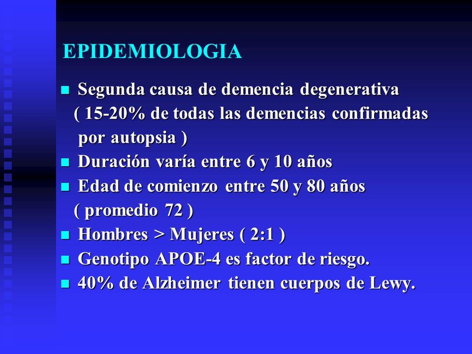 EPIDEMIOLOGIA Segunda causa de demencia degenerativa Segunda causa de demencia degenerativa ( 15-20% de todas las demencias confirmadas ( 15-20% de to