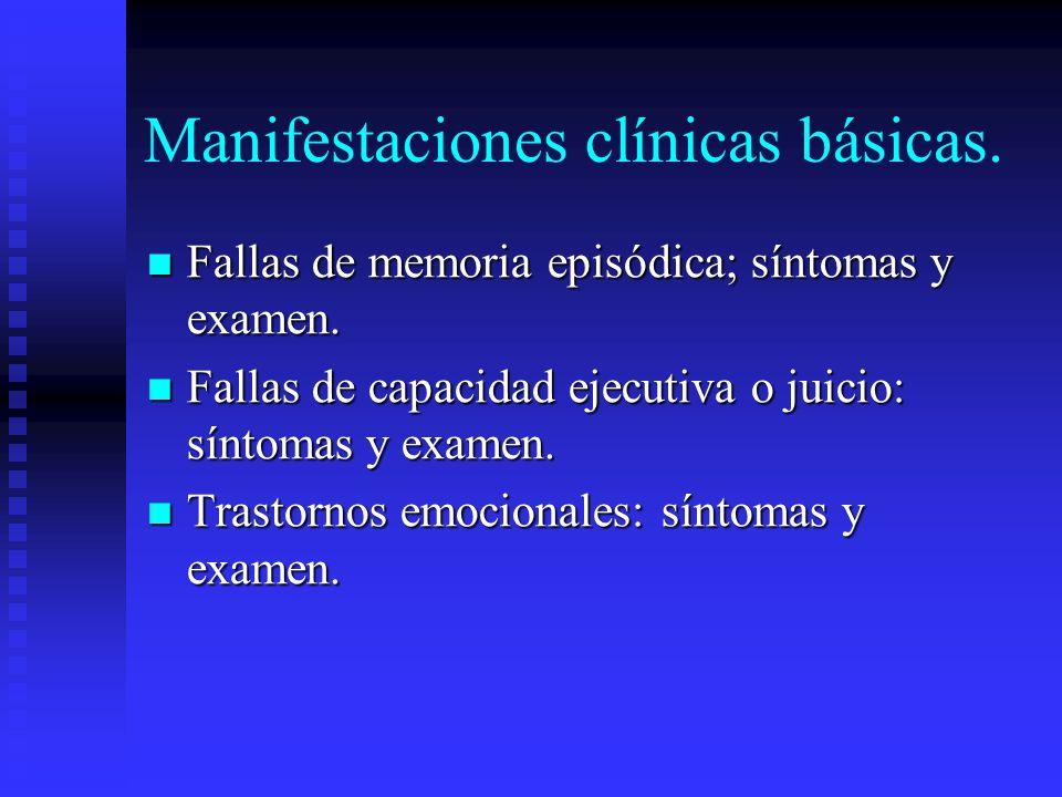 Manifestaciones clínicas básicas. Fallas de memoria episódica; síntomas y examen. Fallas de memoria episódica; síntomas y examen. Fallas de capacidad