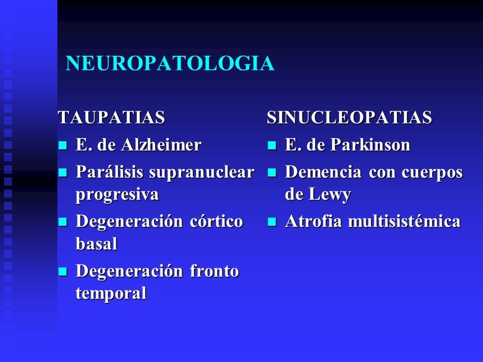 NEUROPATOLOGIA TAUPATIAS E. de Alzheimer E. de Alzheimer Parálisis supranuclear progresiva Parálisis supranuclear progresiva Degeneración córtico basa