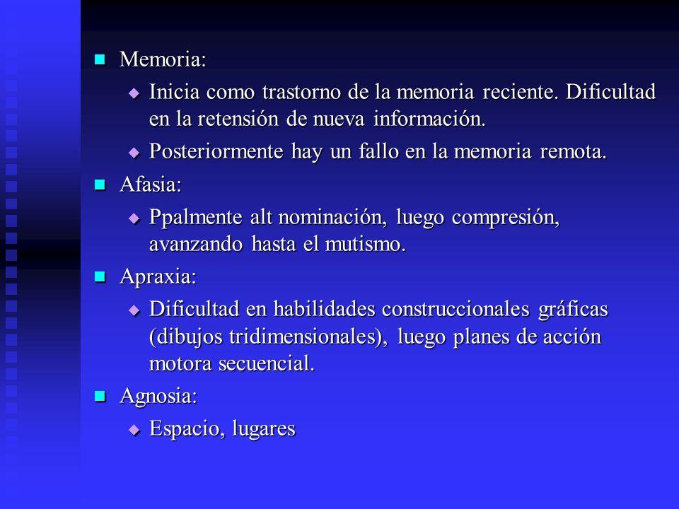 Memoria: Memoria: Inicia como trastorno de la memoria reciente. Dificultad en la retensión de nueva información. Inicia como trastorno de la memoria r