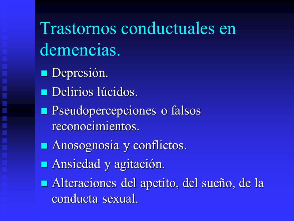 Trastornos conductuales en demencias. Depresión. Depresión. Delirios lúcidos. Delirios lúcidos. Pseudopercepciones o falsos reconocimientos. Pseudoper