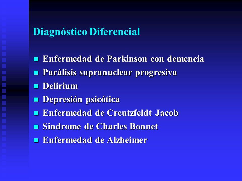 Diagnóstico Diferencial Enfermedad de Parkinson con demencia Enfermedad de Parkinson con demencia Parálisis supranuclear progresiva Parálisis supranuc