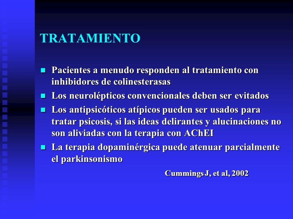 TRATAMIENTO Pacientes a menudo responden al tratamiento con inhibidores de colinesterasas Pacientes a menudo responden al tratamiento con inhibidores