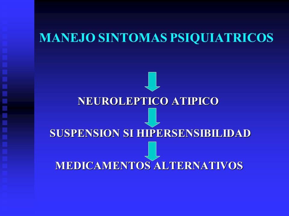 MANEJO SINTOMAS PSIQUIATRICOS NEUROLEPTICO ATIPICO NEUROLEPTICO ATIPICO SUSPENSION SI HIPERSENSIBILIDAD SUSPENSION SI HIPERSENSIBILIDAD MEDICAMENTOS A