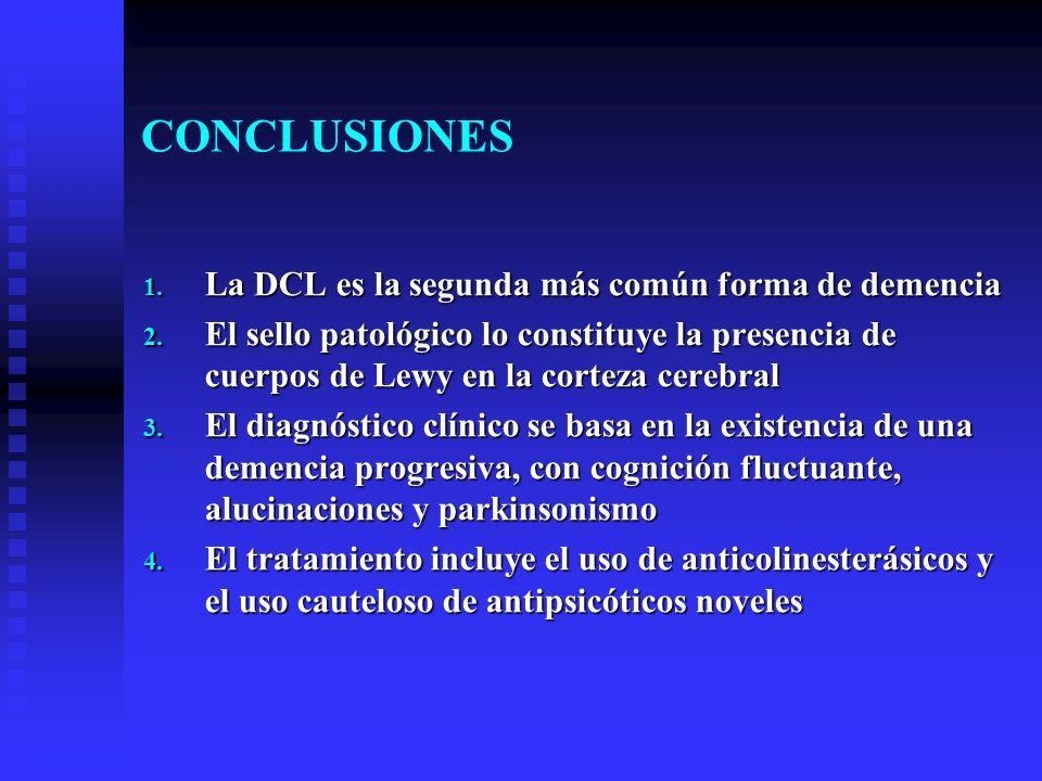 CONCLUSIONES 1. La DCL es la segunda más común forma de demencia 2. El sello patológico lo constituye la presencia de cuerpos de Lewy en la corteza ce