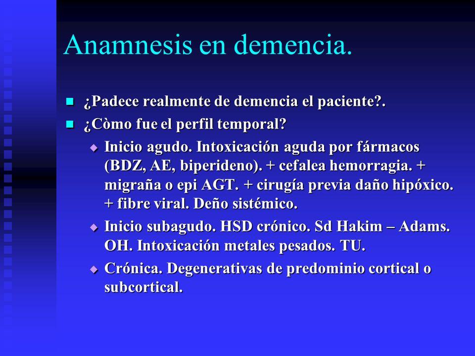 Anamnesis en demencia. ¿Padece realmente de demencia el paciente?. ¿Padece realmente de demencia el paciente?. ¿Còmo fue el perfil temporal? ¿Còmo fue