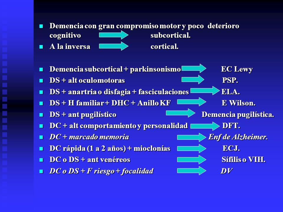 Demencia con gran compromiso motor y poco deterioro cognitivo subcortical. Demencia con gran compromiso motor y poco deterioro cognitivo subcortical.