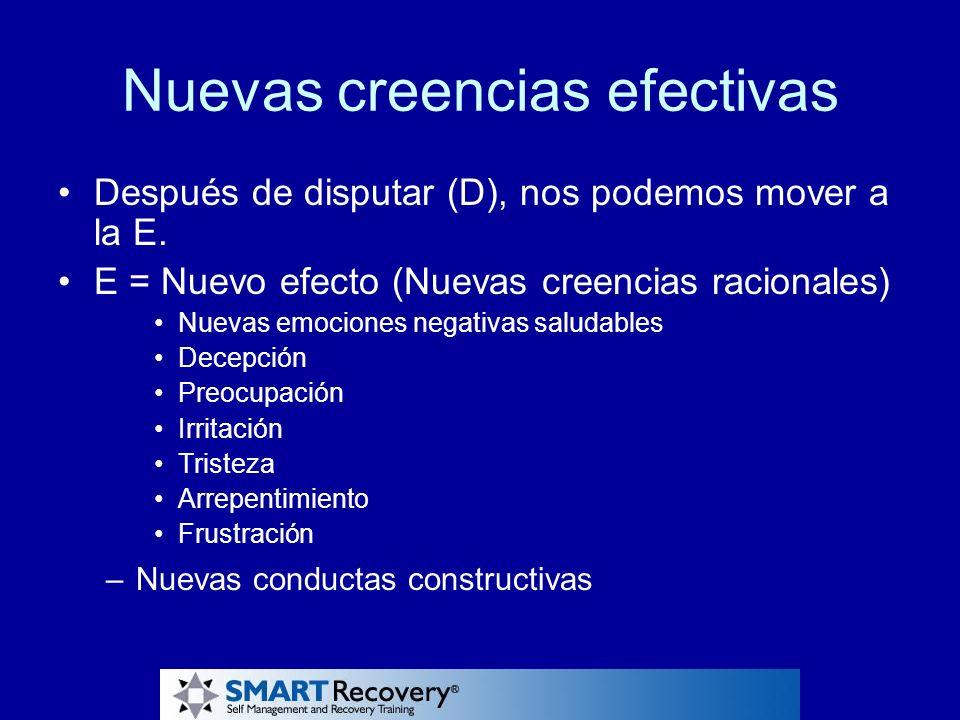 Nuevas creencias efectivas Después de disputar (D), nos podemos mover a la E. E = Nuevo efecto (Nuevas creencias racionales) Nuevas emociones negativa