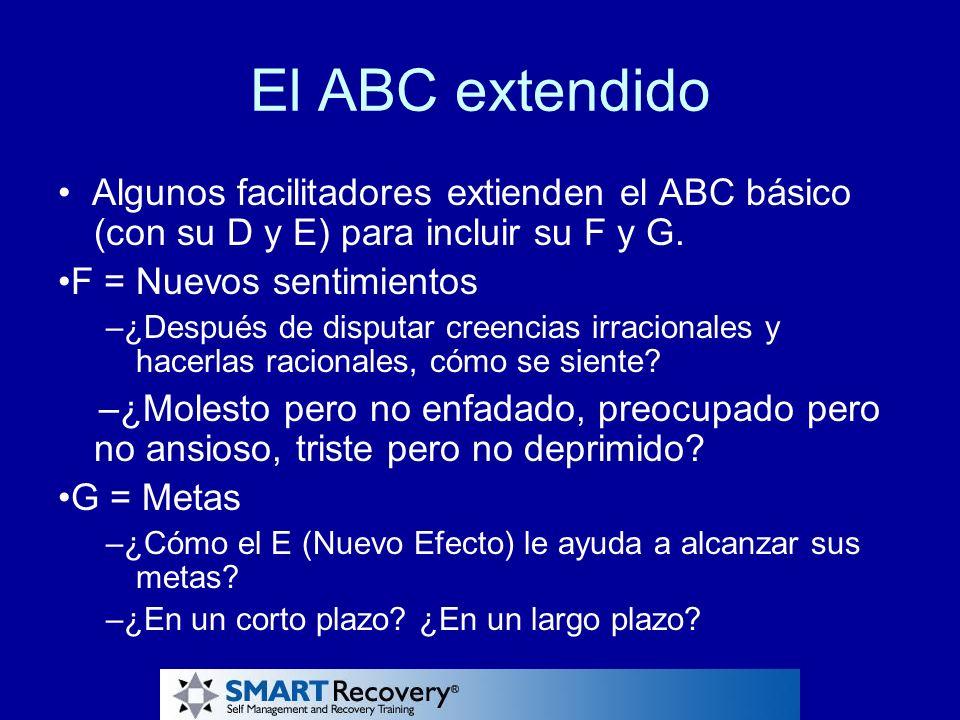 El ABC extendido Algunos facilitadores extienden el ABC básico (con su D y E) para incluir su F y G. F = Nuevos sentimientos –¿Después de disputar cre