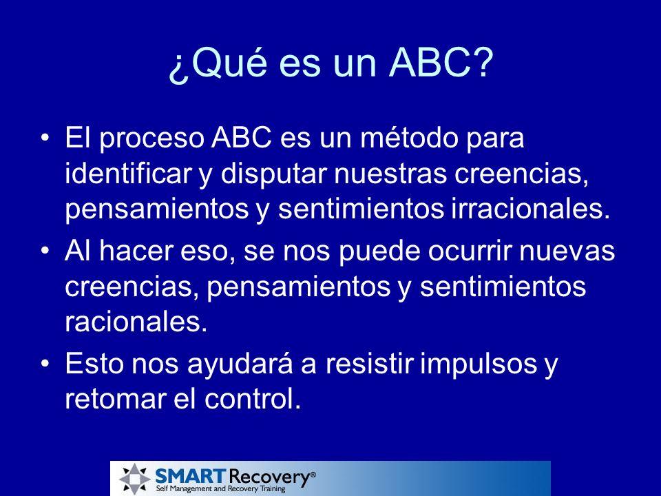 ¿Qué es un ABC? El proceso ABC es un método para identificar y disputar nuestras creencias, pensamientos y sentimientos irracionales. Al hacer eso, se