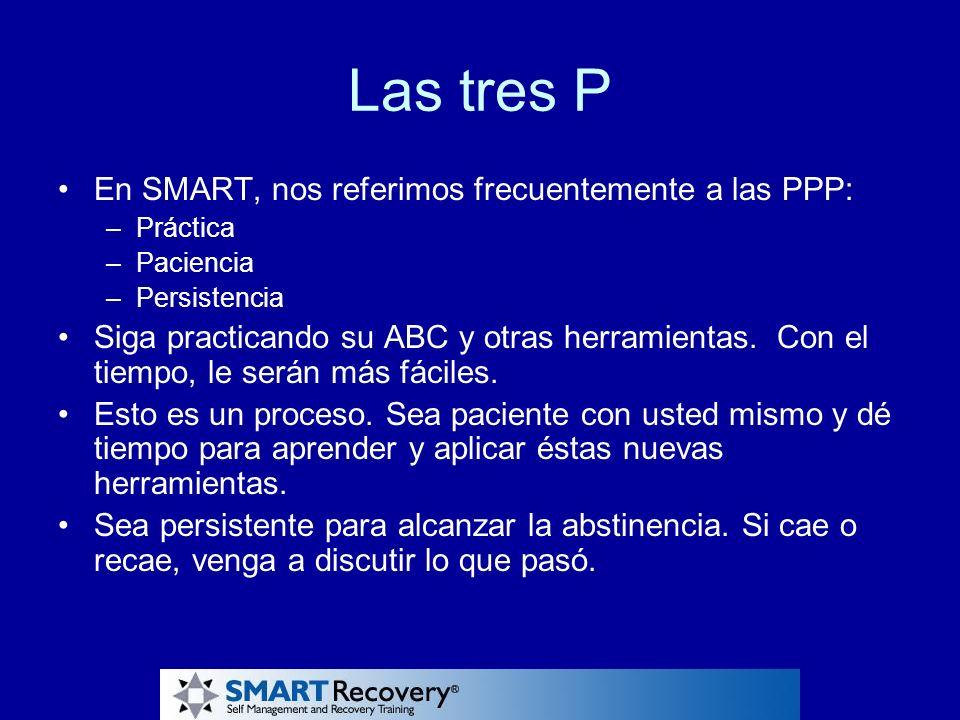 Las tres P En SMART, nos referimos frecuentemente a las PPP: –Práctica –Paciencia –Persistencia Siga practicando su ABC y otras herramientas. Con el t