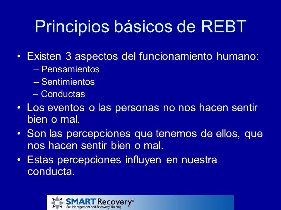 Principios básicos de REBT Existen 3 aspectos del funcionamiento humano: – Pensamientos – Sentimientos – Conductas Los eventos o las personas no nos h