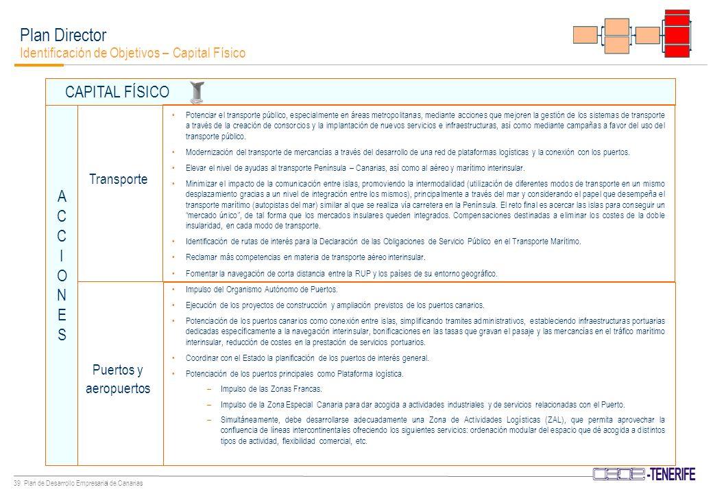 38 Plan de Desarrollo Empresarial de Canarias Plan Director Identificación de Objetivos – Capital Físico Adaptación del Plan Energético de Canarias a las exigencias que se derivan del cumplimiento de los compromisos adquiridos con la firma del Protocolo de Kioto como oportunidad para: –Reducir la dependencia de energía fósil.