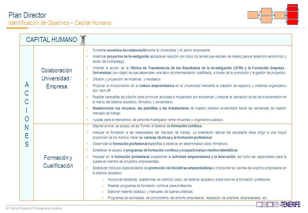 45 Plan de Desarrollo Empresarial de Canarias Preparar a la comunidad educativa para la aplicación de las tecnologías de la información y la comunicación.