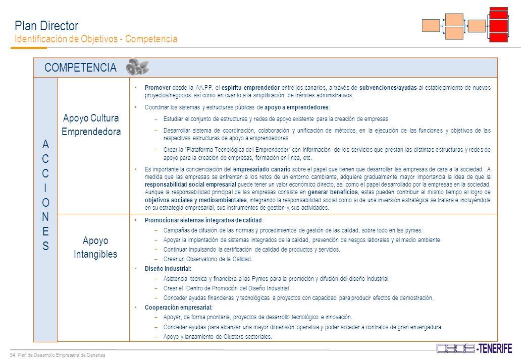 53 Plan de Desarrollo Empresarial de Canarias Es necesario facilitar la competitividad entre las empresas y la liberalización de los mercados, acompañada de la necesaria modernización de la administración pública.