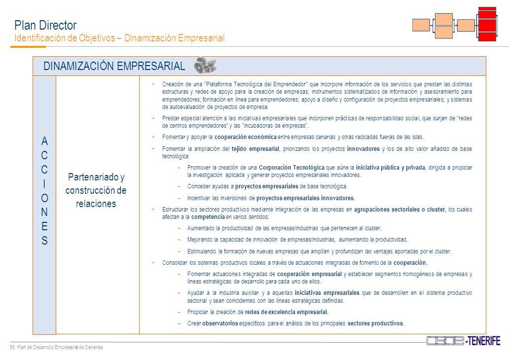 58 Plan de Desarrollo Empresarial de Canarias Plan Director Identificación de Objetivos – Dinamización Empresarial Impulsar el Partenariado (África-Canarias) empresarial.