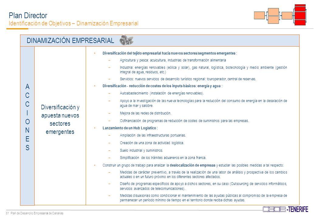 60 Plan de Desarrollo Empresarial de Canarias Plan Director Identificación de Objetivos – Dinamización Empresarial Promocionar la internacionalización de las empresas canarias y la potenciación de Canarias como plataforma entre tres continentes.