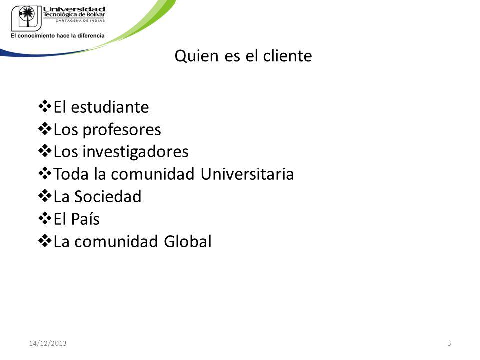 Quien es el cliente El estudiante Los profesores Los investigadores Toda la comunidad Universitaria La Sociedad El País La comunidad Global 14/12/2013