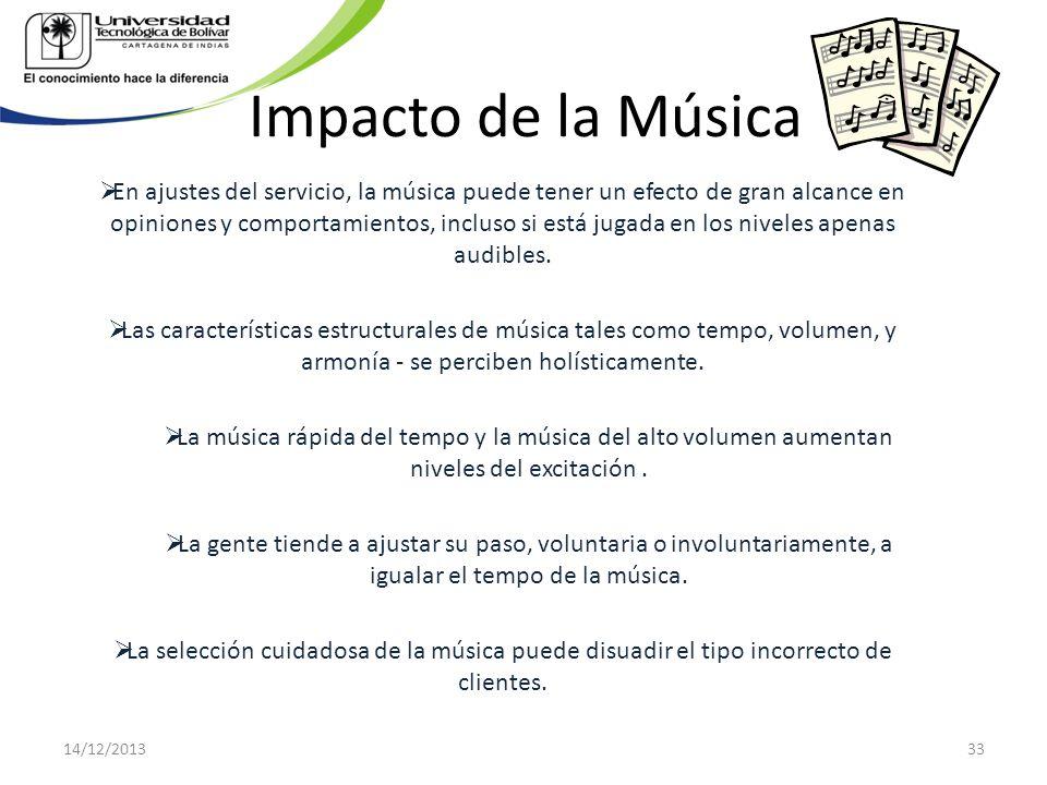 Impacto de la Música En ajustes del servicio, la música puede tener un efecto de gran alcance en opiniones y comportamientos, incluso si está jugada e