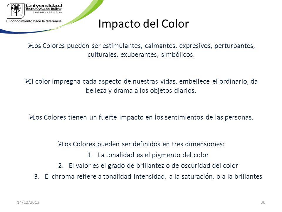 Impacto del Color Los Colores pueden ser estimulantes, calmantes, expresivos, perturbantes, culturales, exuberantes, simbólicos. El color impregna cad