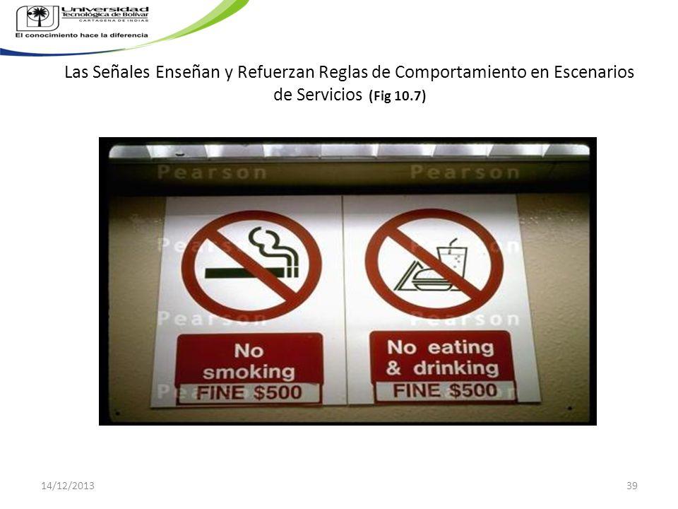 Las Señales Enseñan y Refuerzan Reglas de Comportamiento en Escenarios de Servicios (Fig 10.7) 14/12/201339
