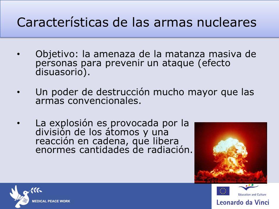 Armas nucleares – efectos en la salud y el medioambiente Destello daño en las retinas, ceguera.