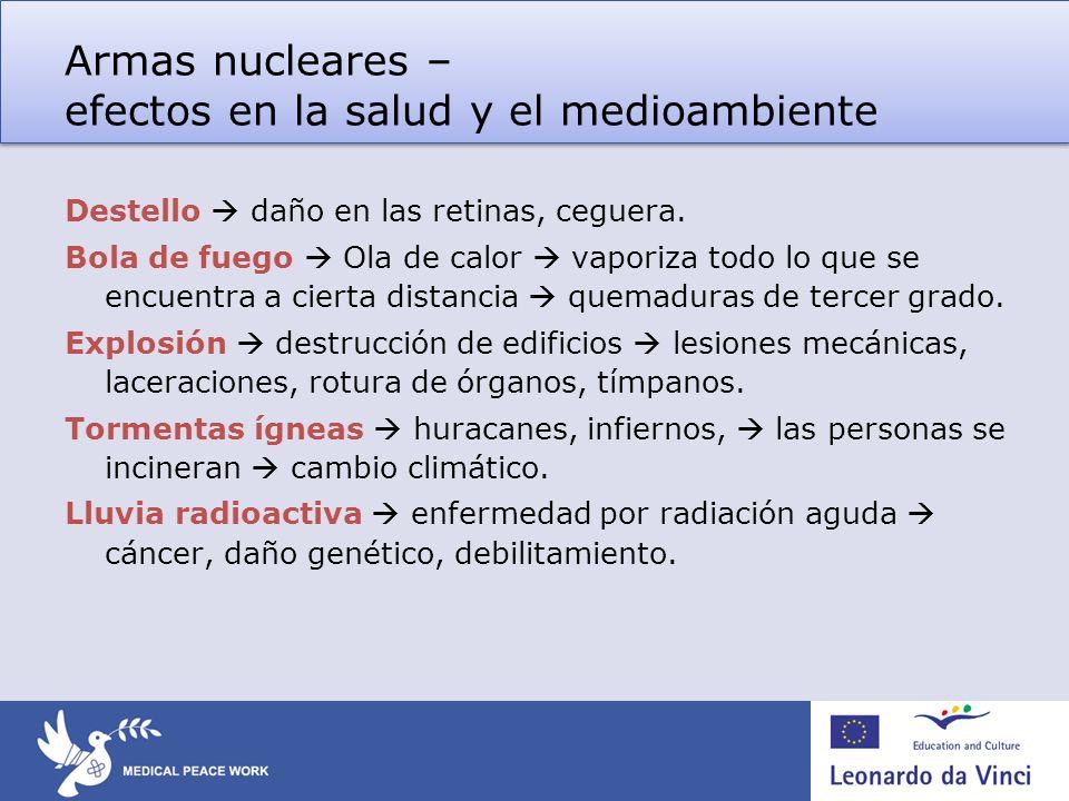 Armas nucleares – escenarios de uso y efectos 1.Guerra nuclear accidental.
