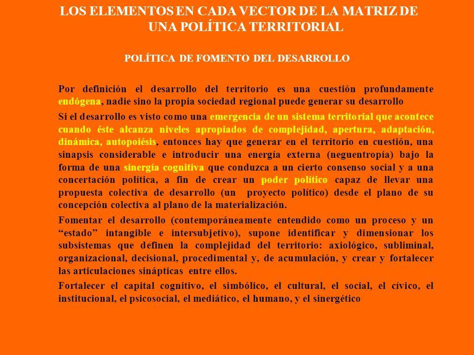LOS ELEMENTOS EN CADA VECTOR DE LA MATRIZ DE UNA POLÍTICA TERRITORIAL POLÍTICA CRECIMIENTO TERRITORIAL Crecimiento económico territorial más y más exó