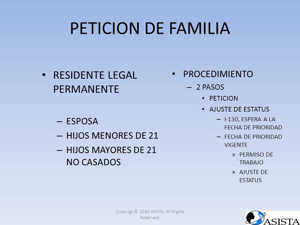 PETICION DE FAMILIA RESIDENTE LEGAL PERMANENTE – ESPOSA – HIJOS MENORES DE 21 – HIJOS MAYORES DE 21 NO CASADOS PROCEDIMIENTO – 2 PASOS PETICION AJUSTE