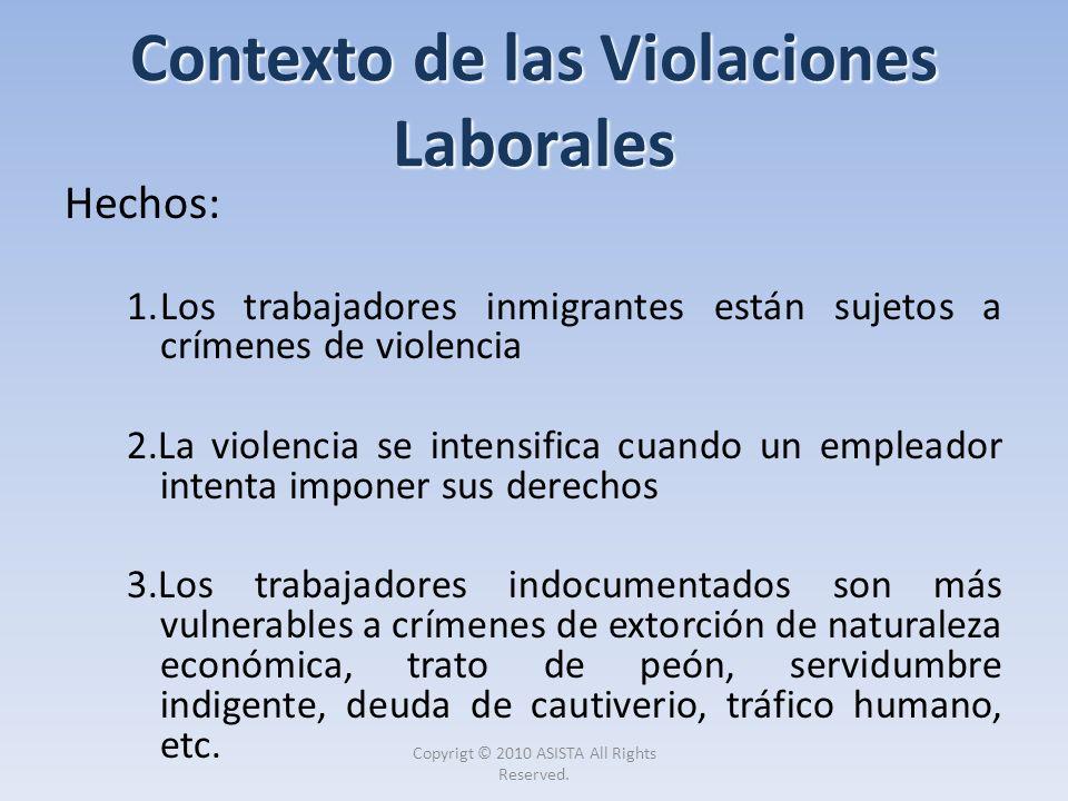 Contexto de las Violaciones Laborales Hechos: 1.Los trabajadores inmigrantes están sujetos a crímenes de violencia 2.La violencia se intensifica cuand
