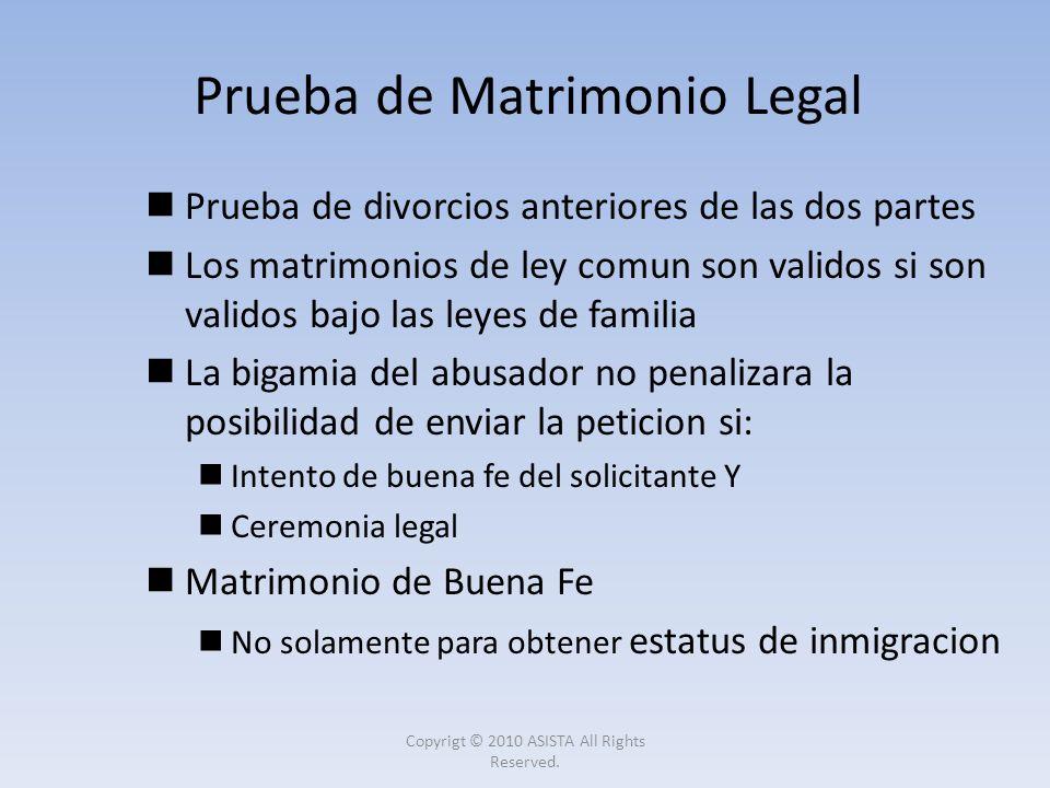 Prueba de divorcios anteriores de las dos partes Los matrimonios de ley comun son validos si son validos bajo las leyes de familia La bigamia del abus