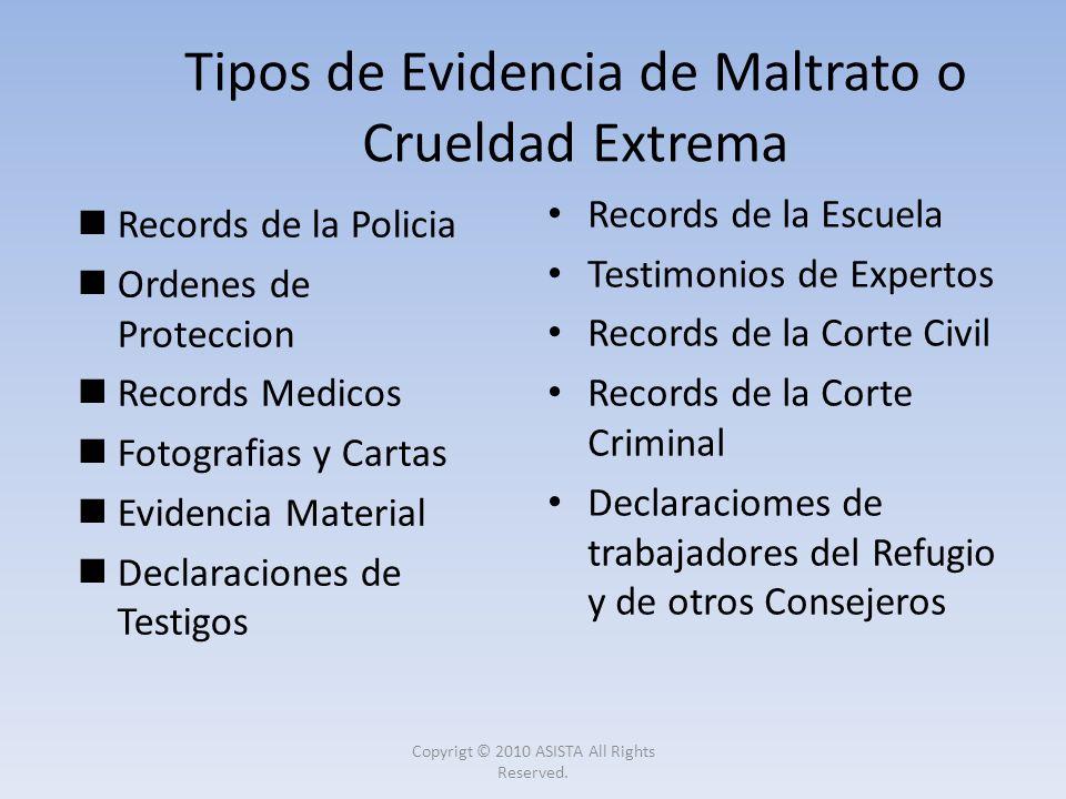 Records de la Policia Ordenes de Proteccion Records Medicos Fotografias y Cartas Evidencia Material Declaraciones de Testigos Records de la Escuela Te