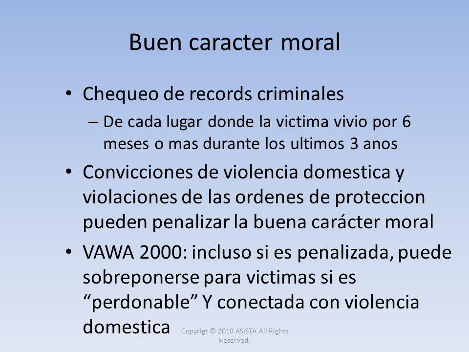 Chequeo de records criminales – De cada lugar donde la victima vivio por 6 meses o mas durante los ultimos 3 anos Convicciones de violencia domestica