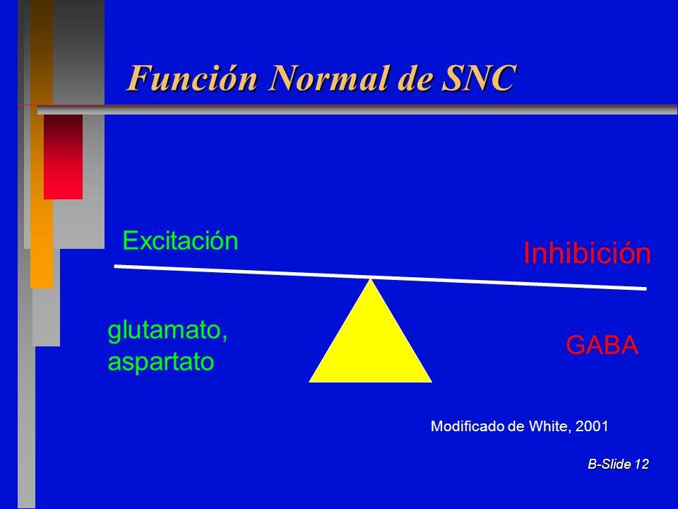 B-Slide 12 Función Normal de SNC Excitación Inhibición glutamato, aspartato GABA Modificado de White, 2001