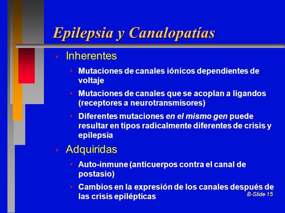 B-Slide 15 Epilepsia y Canalopatías Inherentes Mutaciones de canales iónicos dependientes de voltaje Mutaciones de canales que se acoplan a ligandos (