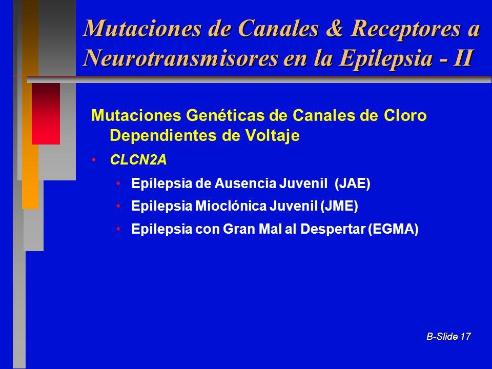 B-Slide 17 Mutaciones Genéticas de Canales de Cloro Dependientes de Voltaje CLCN2A Epilepsia de Ausencia Juvenil (JAE) Epilepsia Mioclónica Juvenil (J