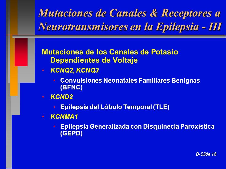B-Slide 18 Mutaciones de los Canales de Potasio Dependientes de Voltaje KCNQ2, KCNQ3 Convulsiones Neonatales Familiares Benignas (BFNC) KCND2 Epilepsi