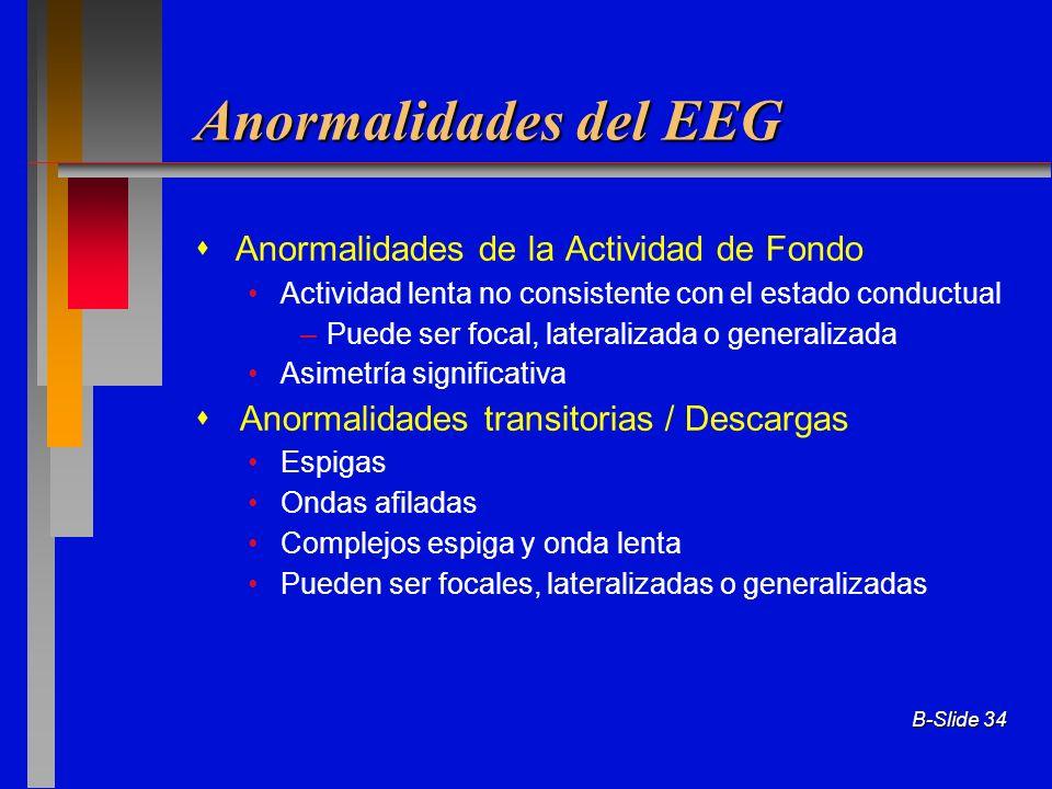 B-Slide 34 Anormalidades del EEG Anormalidades de la Actividad de Fondo Actividad lenta no consistente con el estado conductual –Puede ser focal, late