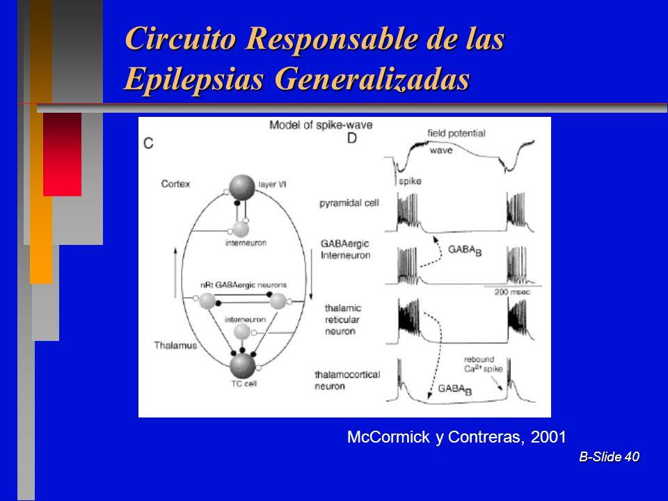 B-Slide 40 Circuito Responsable de las Epilepsias Generalizadas McCormick y Contreras, 2001