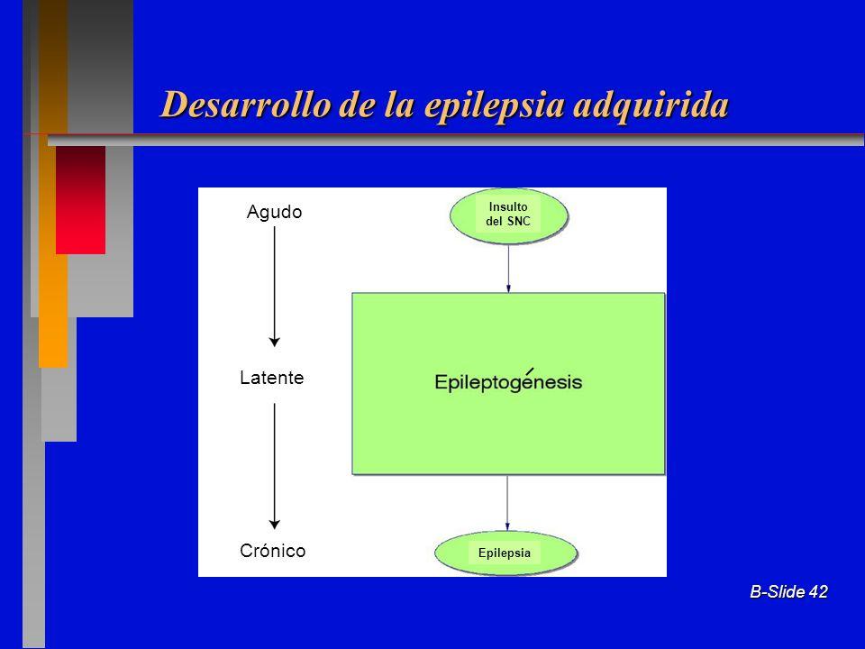 Desarrollo de la epilepsia adquirida B-Slide 42 Agudo Latente Crónico Insulto del SNC Epilepsia