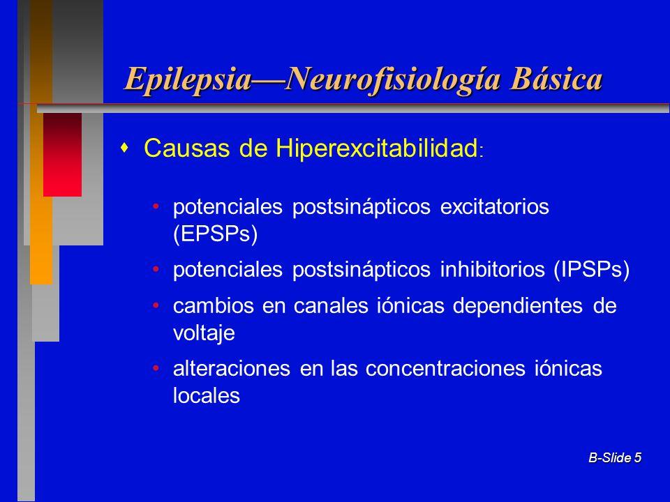 B-Slide 5 EpilepsiaNeurofisiología Básica Causas de Hiperexcitabilidad : potenciales postsinápticos excitatorios (EPSPs) potenciales postsinápticos in