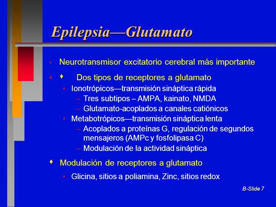 B-Slide 7 EpilepsiaGlutamato Neurotransmisor excitatorio cerebral más importante Dos tipos de receptores a glutamato Ionotrópicostransmisión sináptica
