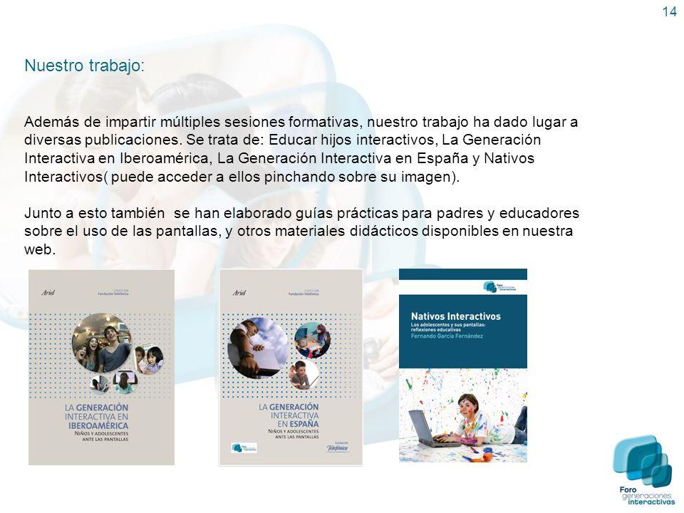 14 Nuestro trabajo: Además de impartir múltiples sesiones formativas, nuestro trabajo ha dado lugar a diversas publicaciones. Se trata de: Educar hijo